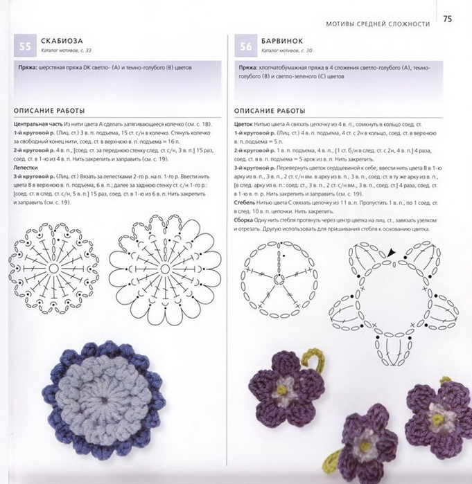 100 вязаных цветов спицами и крючком (72) (681x700, 271Kb)