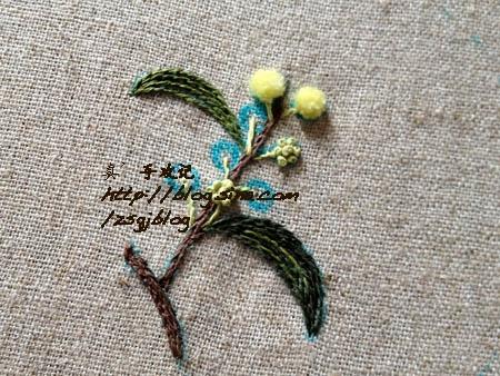 Фото мастер-класс по вышивке веточки мимозы (4) (450x338, 193Kb)