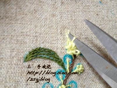 Фото мастер-класс по вышивке веточки мимозы (8) (400x300, 118Kb)