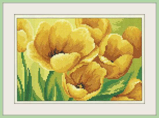 Желты тюльпан вышивка крест