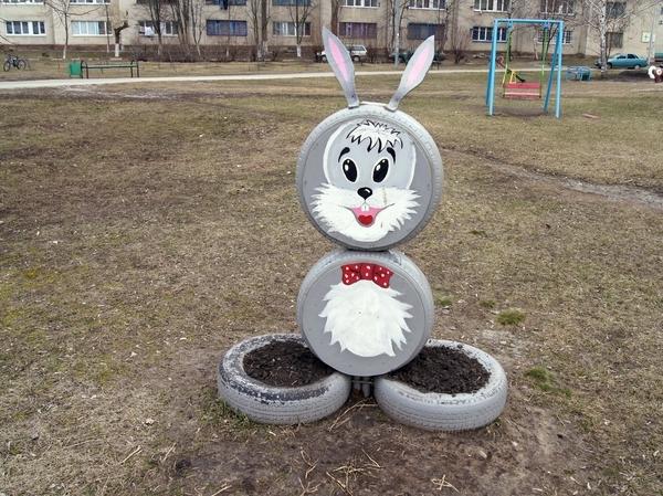 Как сделать зайца из шин своими руками инструкция