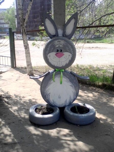 Как сделать зайца из покрышки пошаговая инструкция