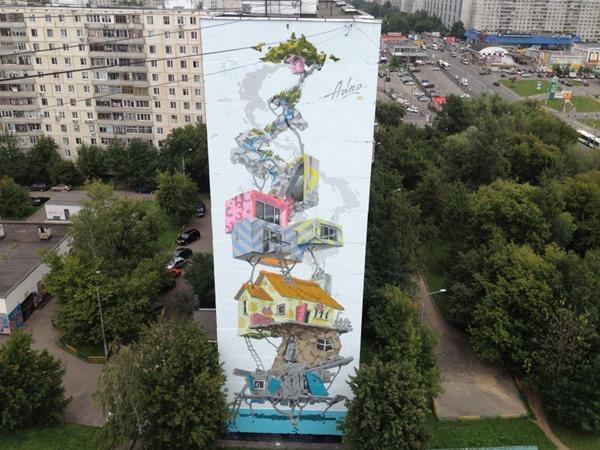 Рисунок на 13-этажном доме в Бибирева