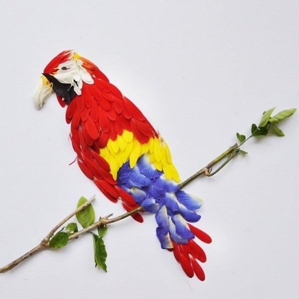 Хун И. Птицы из цветочных лепестков. Фотографии