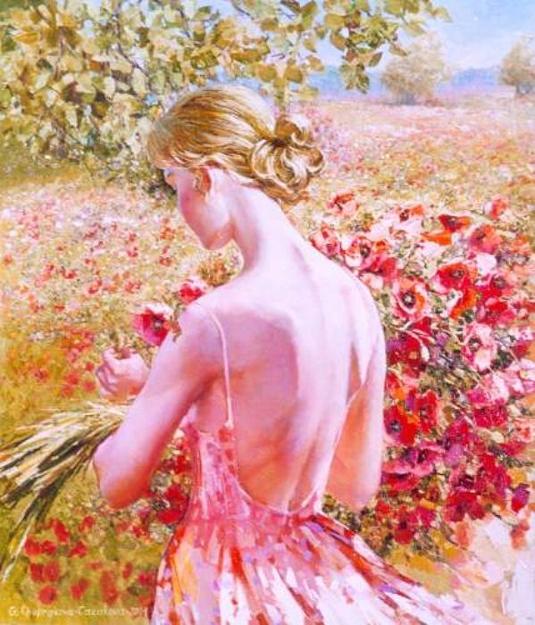 Девушка с красивыми цветами стихи