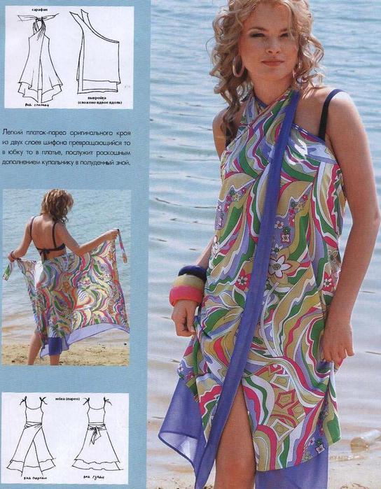 Пляжное платье из платка