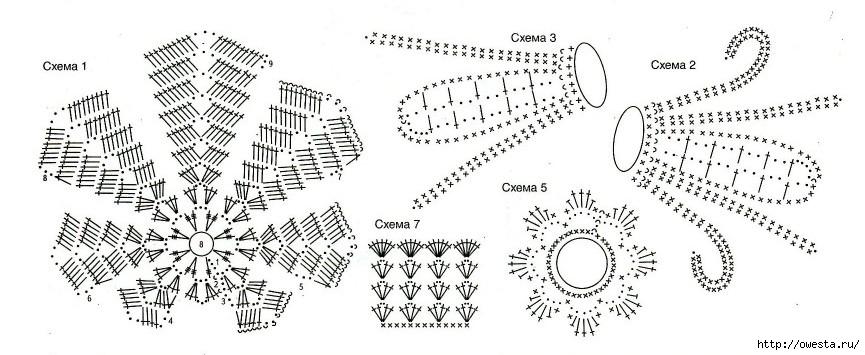 Вязание крючком схемы для ириса
