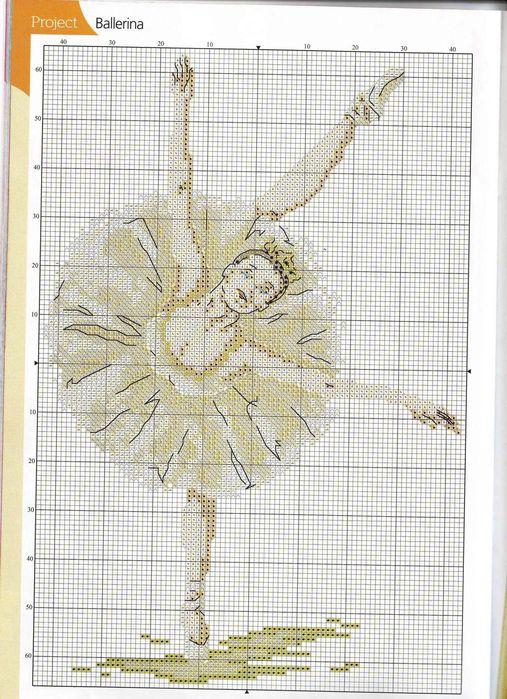 Балерина, вышивка крестом