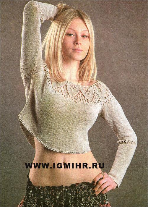 Женское платье с ажурной круглой кокеткой спицами