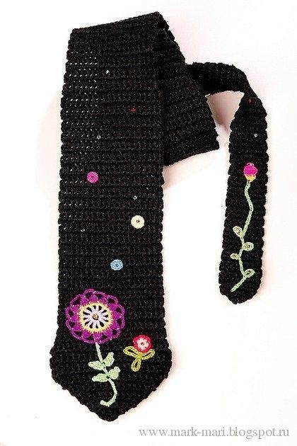 """Черный вязаный галстук от """""""