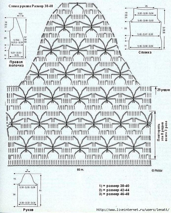 Описание вязания крючком рукава 790