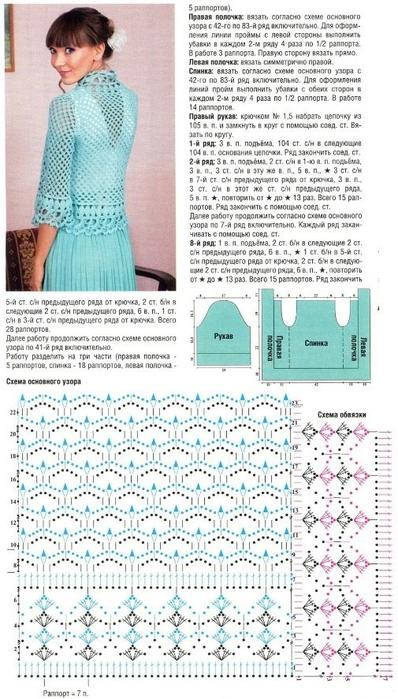 Схемы ажурного вязания крючком кардиганов для женщин