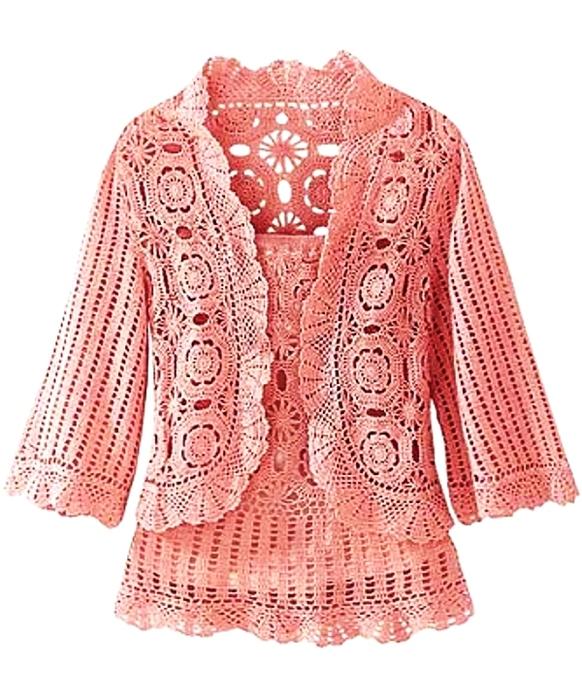 Розовый комплект: болеро и топ