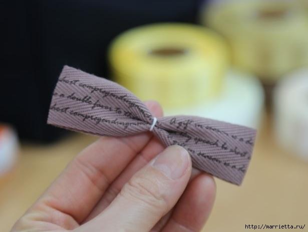 Украшаем бантиками из ленточек заколки для волос. Мастер-классы (17) (615x463, 91Kb)