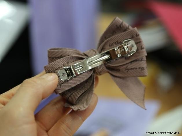 Украшаем бантиками из ленточек заколки для волос. Мастер-классы (27) (629x470, 114Kb)