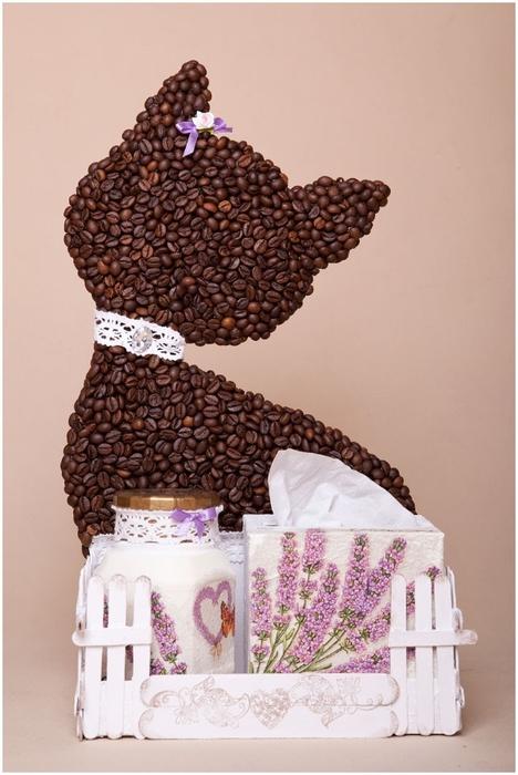 Gato de café con un jardín y valla) Composición decorativa para la cocina (1) (468x700, 206Kb)