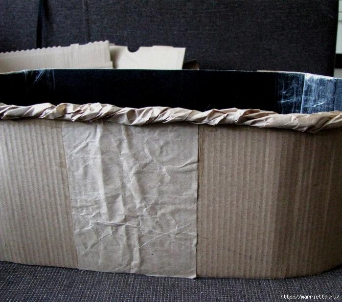 Кашпо для комнатных цветов из картонной коробки и упаковочной бумаги (15) (700x618, 351Kb)