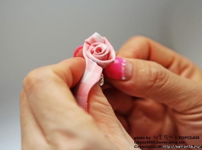 розочка из ленточки для украшения резиночки для волос (6) (645x480, 101Kb)