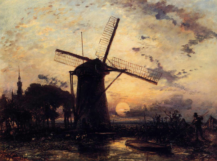 Jongkind_Johan_Berthold_Boatman_by_a_Windmill_at_Sundown (700x519, 419Kb)
