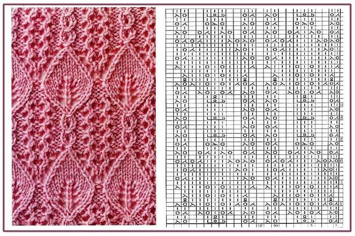 Вязание спицы веточка с листьями 263