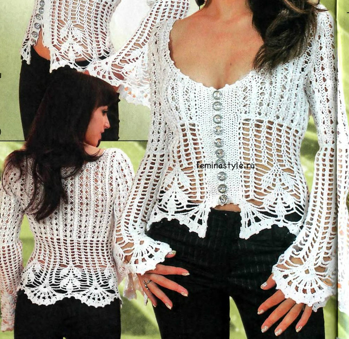 Вяжем белую блузку