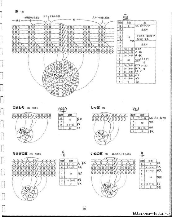 Игрушки АМИГУРАМИ крючком. Японский журнал со схемами (70) (555x700, 217Kb)
