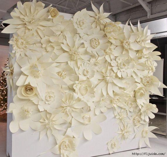бумажные цветы на панно !
