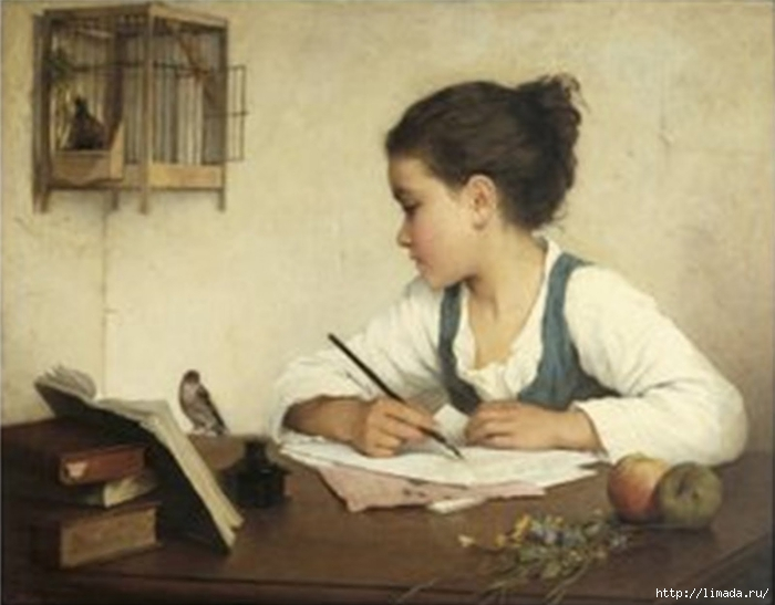 Girl with bird (700x547, 176Kb)