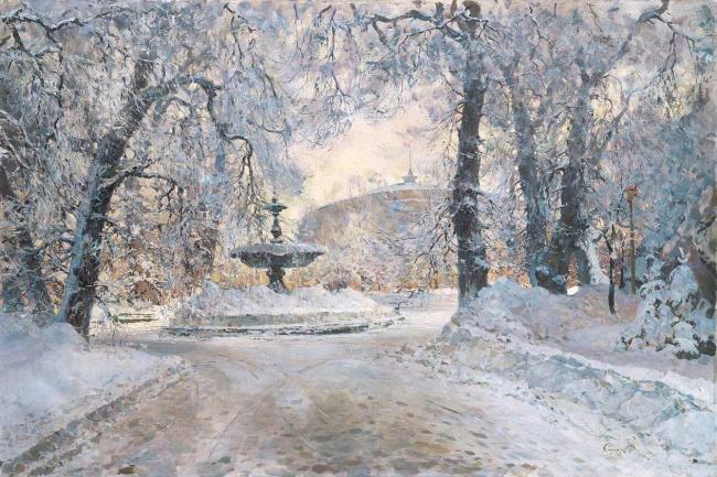 """1 """"Фонтан в Мариинском парке зимой"""", 1966 г (650x433, 326Kb)"""