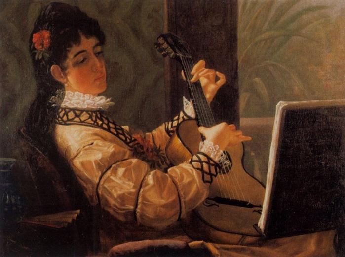 Огюст Ренуар Молодая испанская женщина с гитарой (700x522, 360Kb)