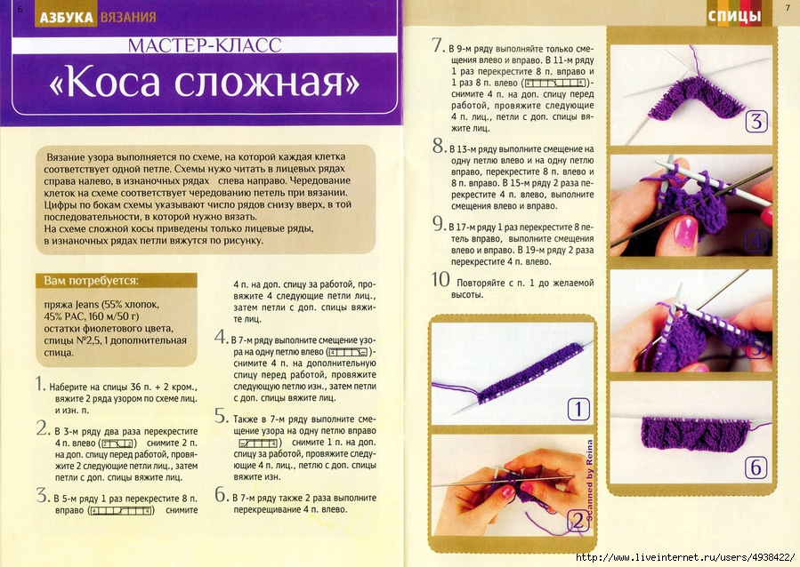 Вязание косы спицами мк 56