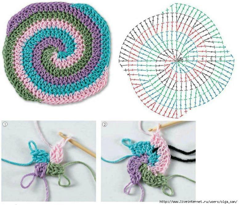 Вязание крючком по кругу разными цветами 24