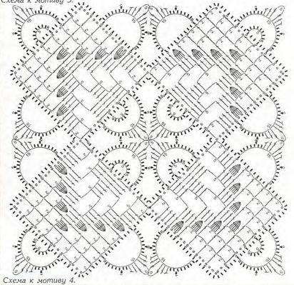 Узоры салфетка квадратная крючком схема