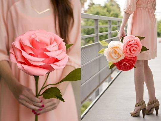 Как сделать большие бумажные розы