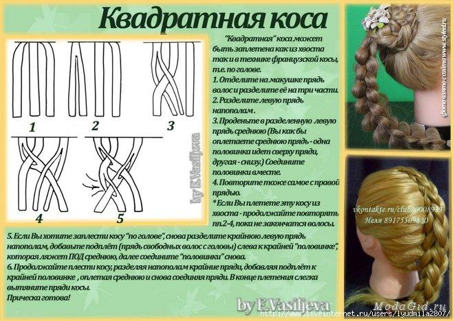 Плетение кос со схемами