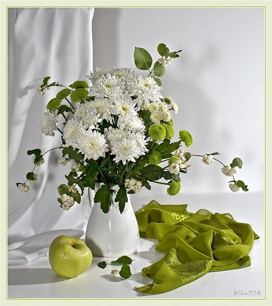 Натюрморт Белые хризантемы ...: svetikya.com/post288161411
