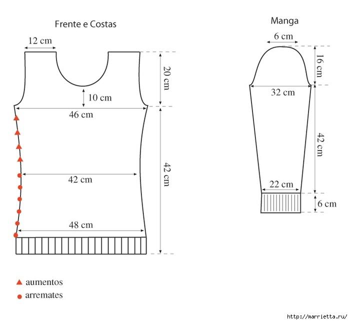 Выкройка женского пуловера (3) (700x644, 80Kb)