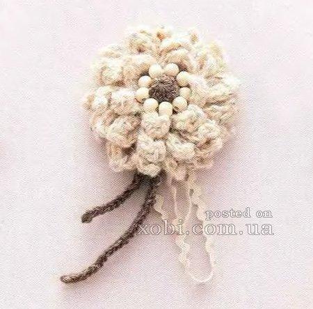 Схема вязания крючком броши с цветком.