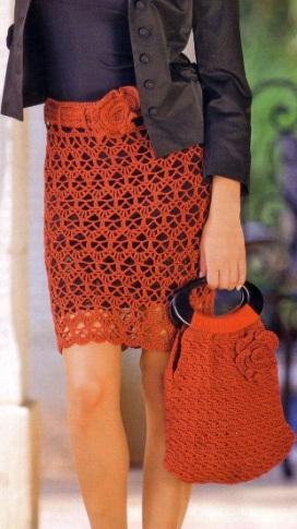 Вязание крючком - юбка, сумка,