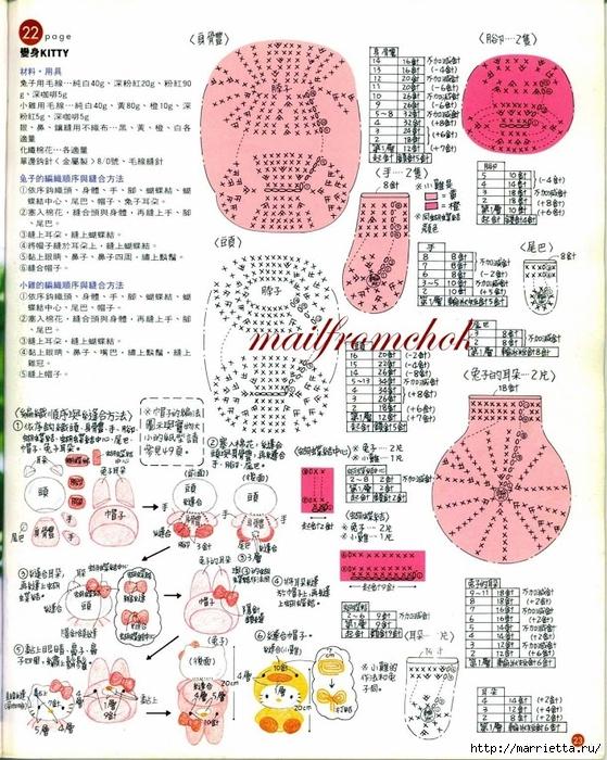 Hello Kitty! Вяжем японскую кошечку. Отличный журнал со схемами (21) (559x700, 365Kb)