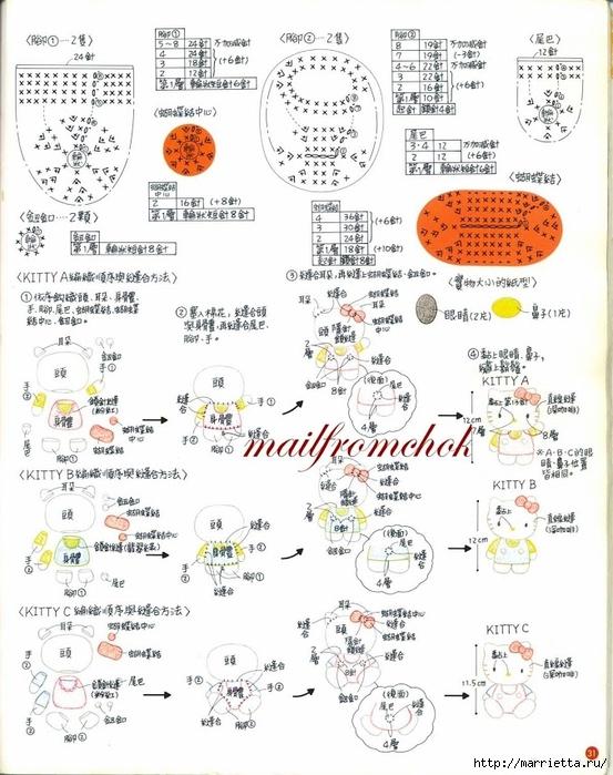 Hello Kitty! Вяжем японскую кошечку. Отличный журнал со схемами (29) (553x700, 277Kb)