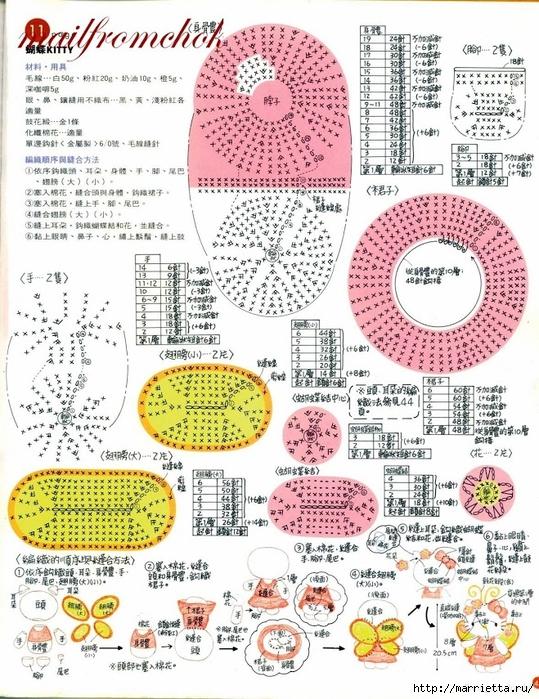 Hello Kitty! Вяжем японскую кошечку. Отличный журнал со схемами (43) (539x700, 382Kb)