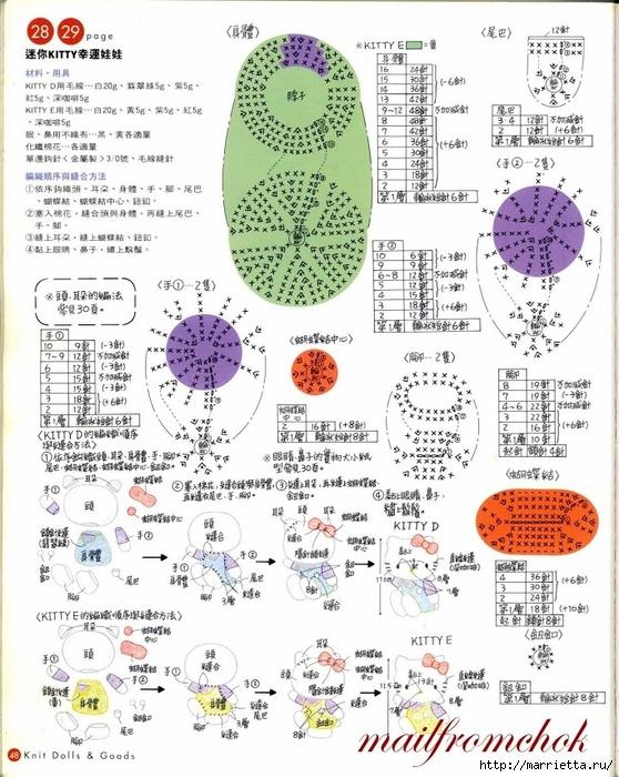 Hello Kitty! Вяжем японскую кошечку. Отличный журнал со схемами (46) (558x700, 320Kb)