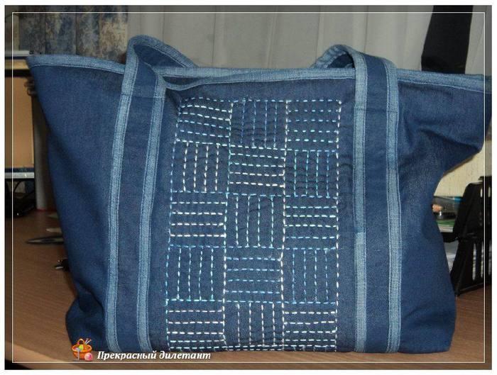 Хозяйственная сумка из старых джинсов своими руками фото