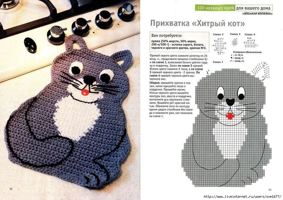 Аппликации коты крючком