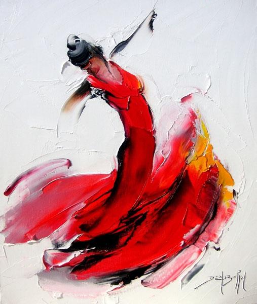 Танец с девушкой в красном платье