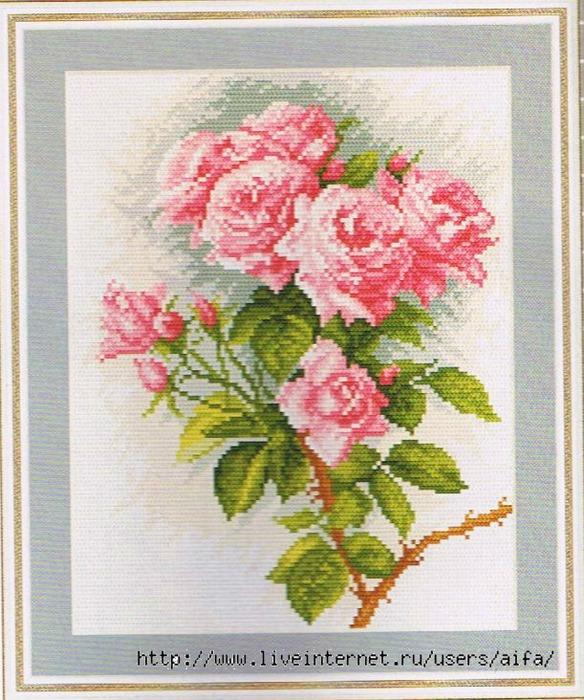 Розы розовые Вышивка крестом,