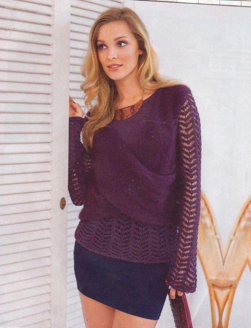 Ажурный пуловер и накидка из