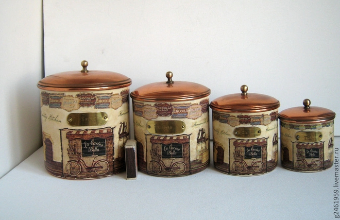 Набор старинных банок Кантри кухня (700x453, 217Kb)