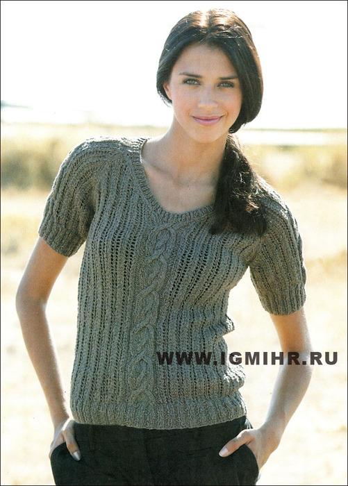 Пуловер с короткими рукавами, ажурным и аранским узорами, от французских дизайнеров. Спицы